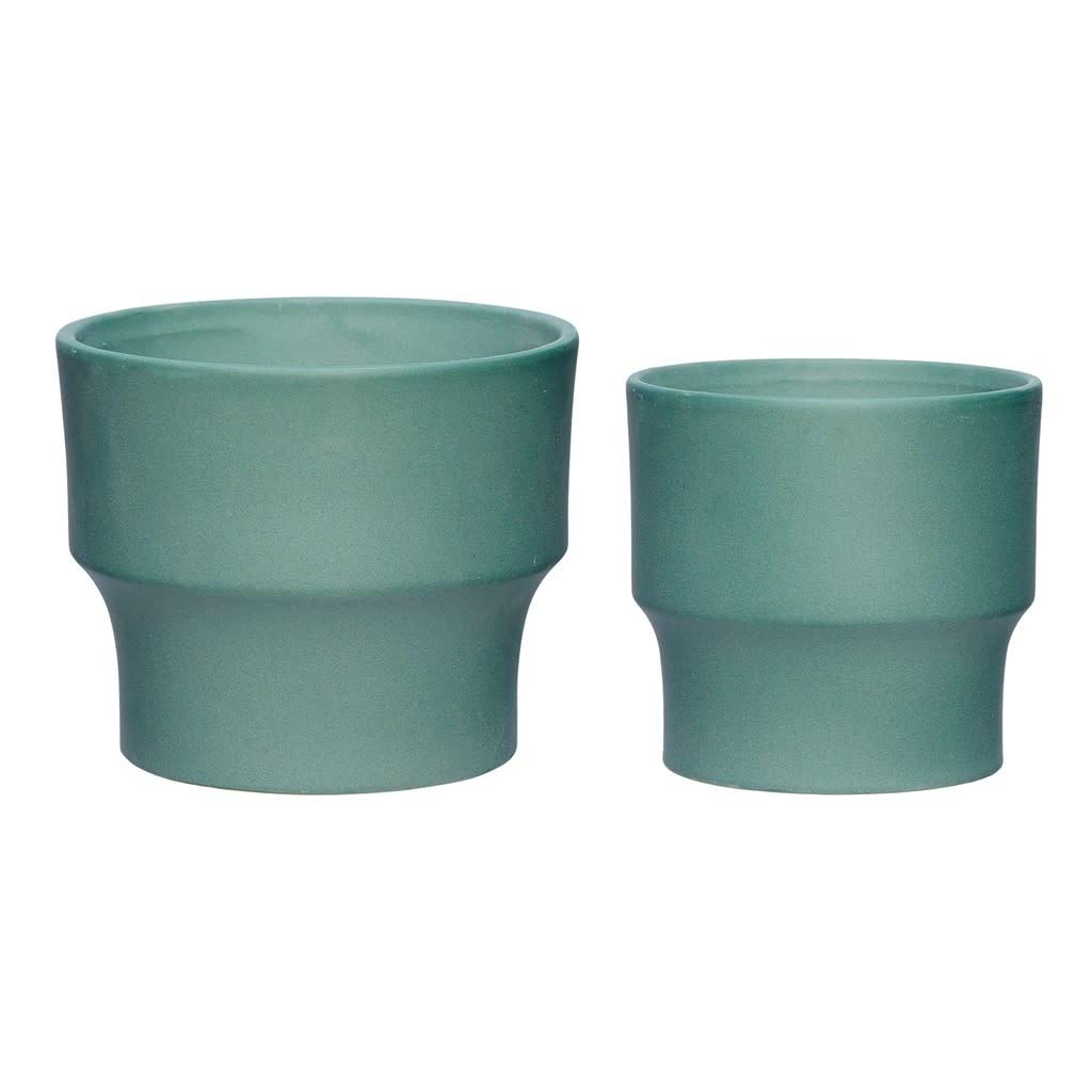 Hübsch Pot _ keramiek _ groen _ Ø16*H13 cm