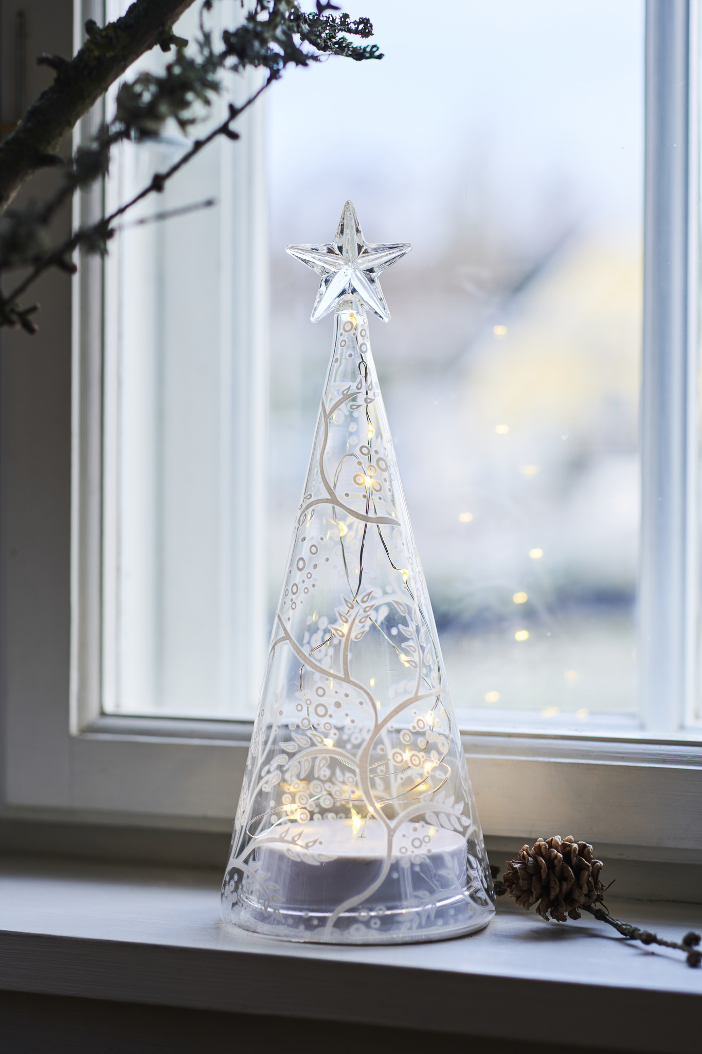 Cozy tree, H22cm, wit/clear
