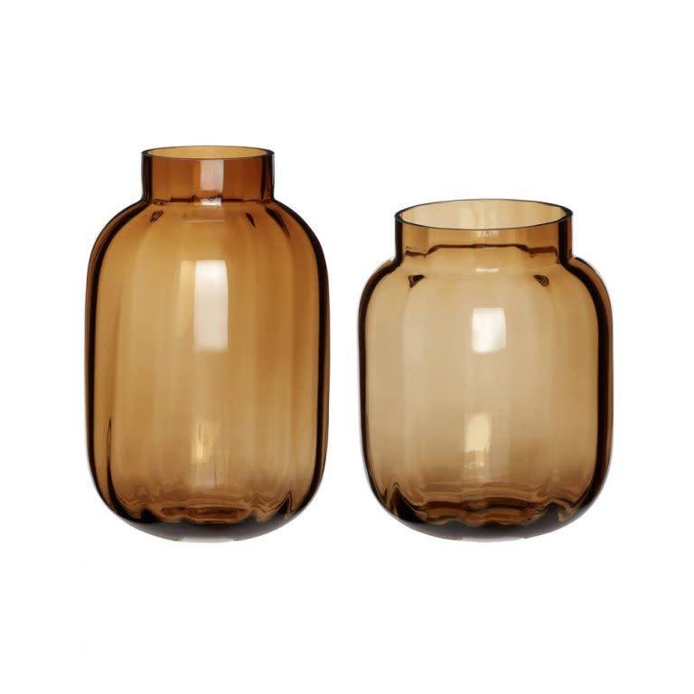 Hübsch Vaas, glas,  amber, s/2 _ ø17xh20, ø18xh28cm