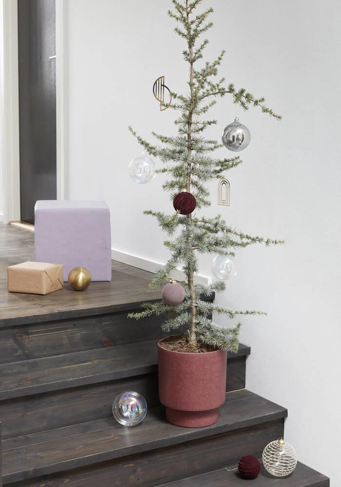 Hübsch Kerstbal, velour, rood, s/2 _ ø8, ø10cm