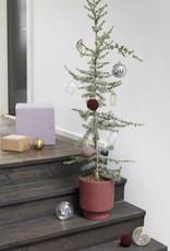 Hübsch Kerstbal, glas, paars, s/2 _ ø8, ø10cm