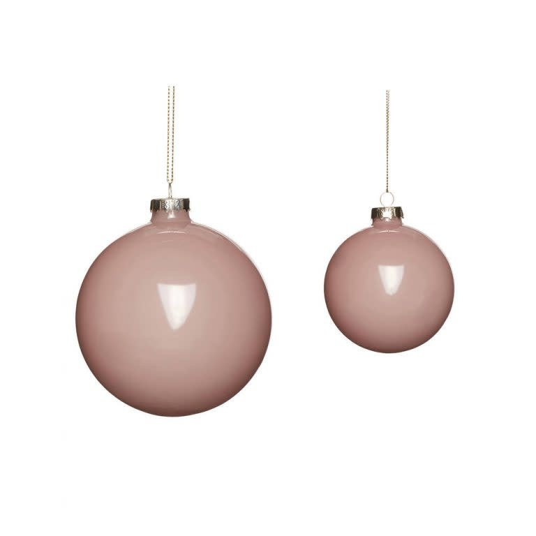 Hübsch Christmas ball, glas, roze, s/2 _ ø8, ø10cm