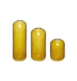 Hübsch Vaas, glass, amber, s/3 _ ø7xh10, ø7xh15, ø7xh20cm