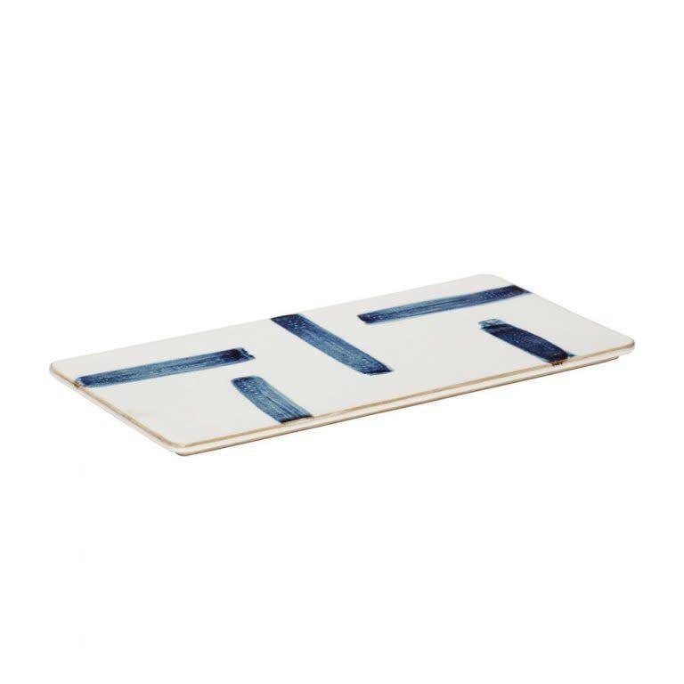 Hübsch Plate, porselein, wit/blauw _ 31x15xh1cm