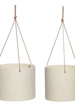 Hübsch Pot met leren riem, keramiek, zandkleurig, s/2 _ ø17xh16, ø20xh16cm