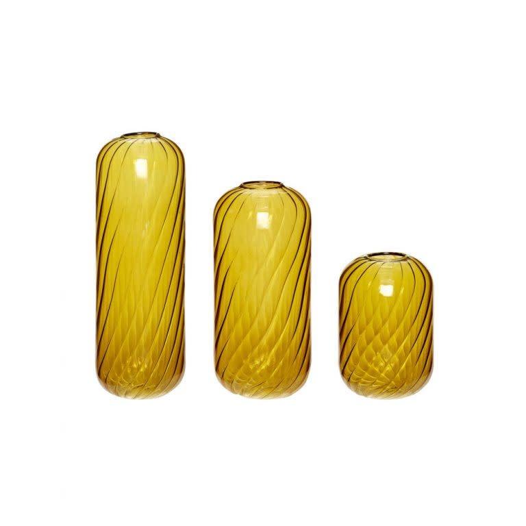 Hübsch Vaas, glass, amber,  ø7xh10