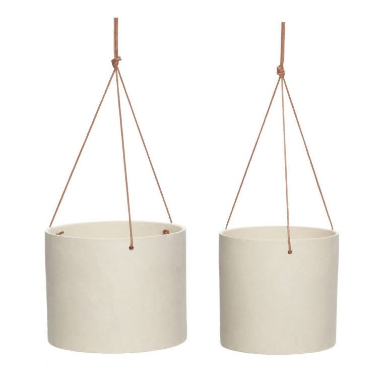 Hübsch Pot met leren riem, keramiek, zandkleurig,  ø17xh16 cm