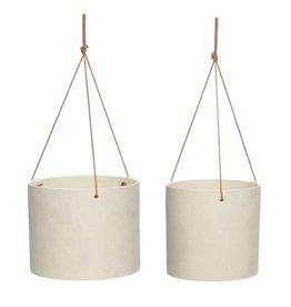 Hübsch Pot met leren riem, keramiek, zandkleurig,  ø20xh16 cm