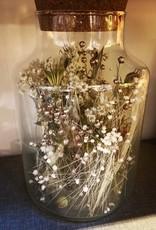 Droogbloemen in glas met kurk en licht