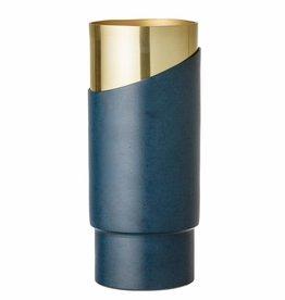 Bloomingville Carsten vase, blauw, metaal, Ø10xH23 cm