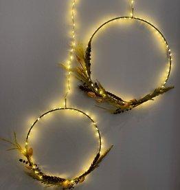 Sirius Sirius Liva circle, Ø25 cm, silver met droogbloemen verwerkt