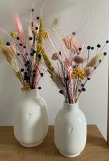 Droogbloemen in vaas smal räder_ Ø 7 cm / H 11 cm
