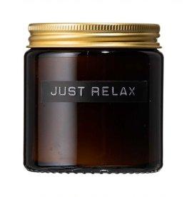 Wellmark Kleine geurkaars cedarwood bruin glas 'just relax'