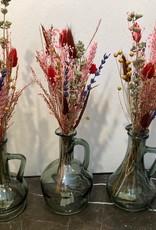 Set van 3 vaasjes  met droogbloemen