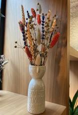 Embla vase _ wit _ Stoneware D6xH14,5 cm met droogbloemen