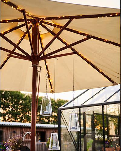 Sirius Knirke solar parasol, 8x2m + 2m, 128L, zilver