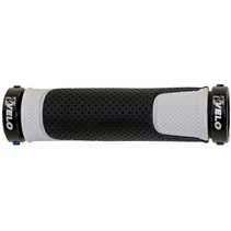 Handvatpaar aluminium Velo D3 gel - zwart / wit