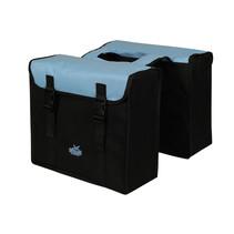 Dubbele Greenlands fietstas - zwart / lichtblauw