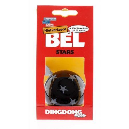 NIET VERKEERD Fietsbel Ding Dong Stars 60 mm - zwart/witte