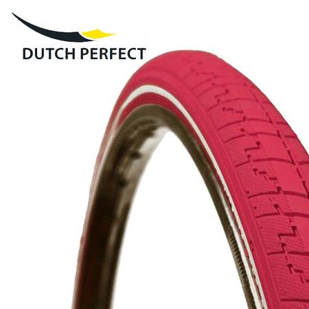 """DUTCH PERFECT Buitenband 28 x 1 ½"""" / 40-635 No Puncture - Roze +"""
