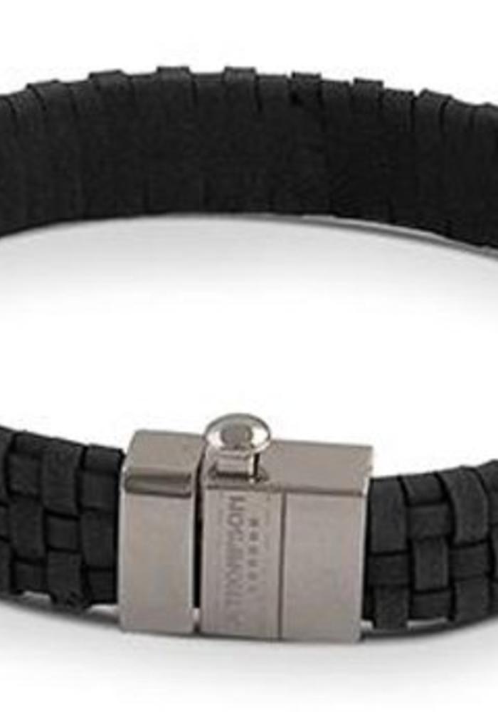 Thompson London Armband Gevlochten Leer Zwart M