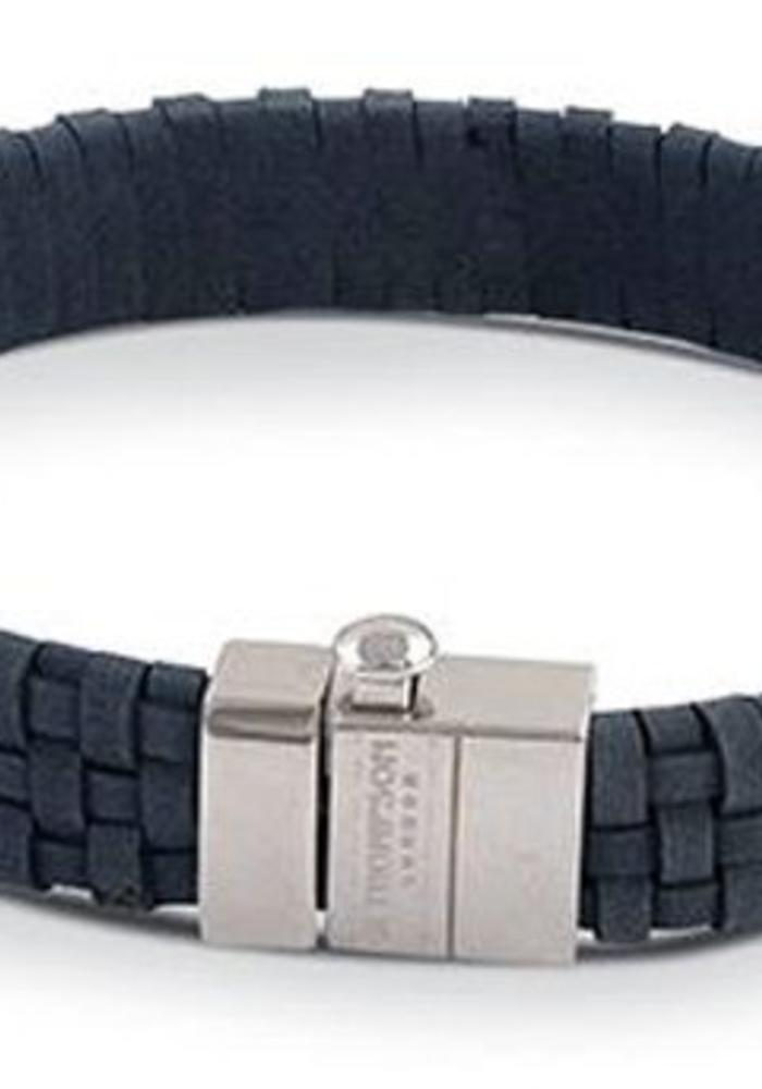 Thompson London Armband Gevlochten Leer Blauw L
