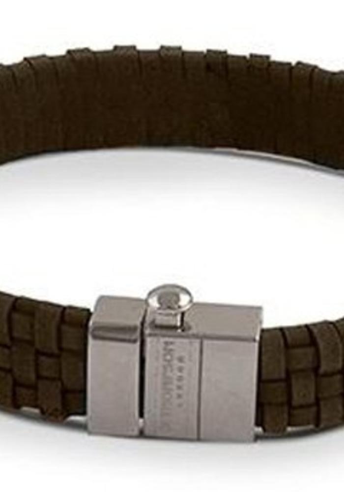 Thompson London Armband Gevlochten Leer Bruin L