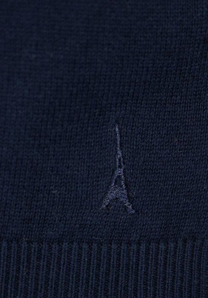 Les Deux Frères Basic Cotton Knit Navy Trui
