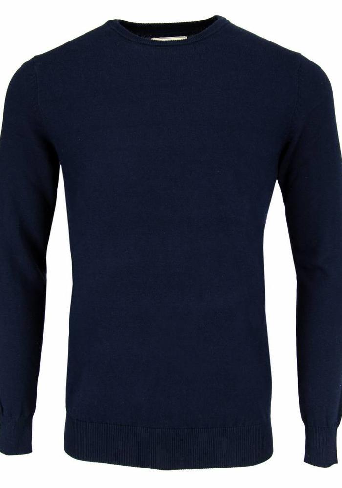 Les Deux Frères Basic Cotton Knit Navy Pullover