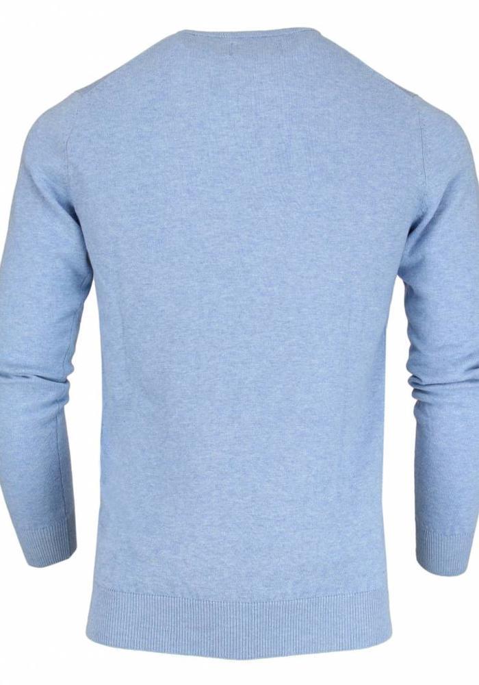 Les Deux Frères Basic Cotton Knit Light Blue Les Deux Frères Pullover