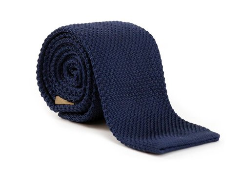 Les Deux Frères Stropdas Knitted Navy