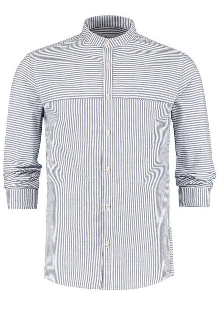 The Goodpeople Overhemd Tokyo Wit/Blauw Gestreept