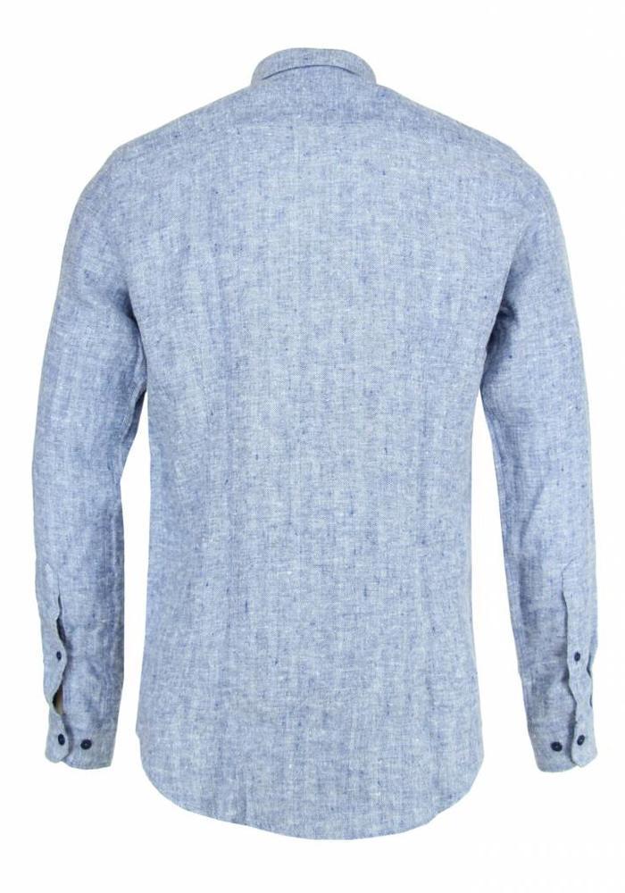 Blue the Genes Shirt Bacco Matricard Herringbone Blue