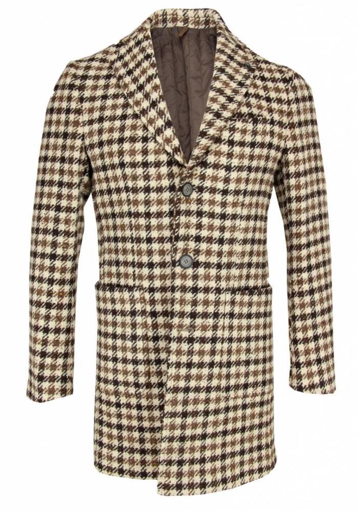 Laboratories Italiani Woolen Overcoat Houndstooth Beige