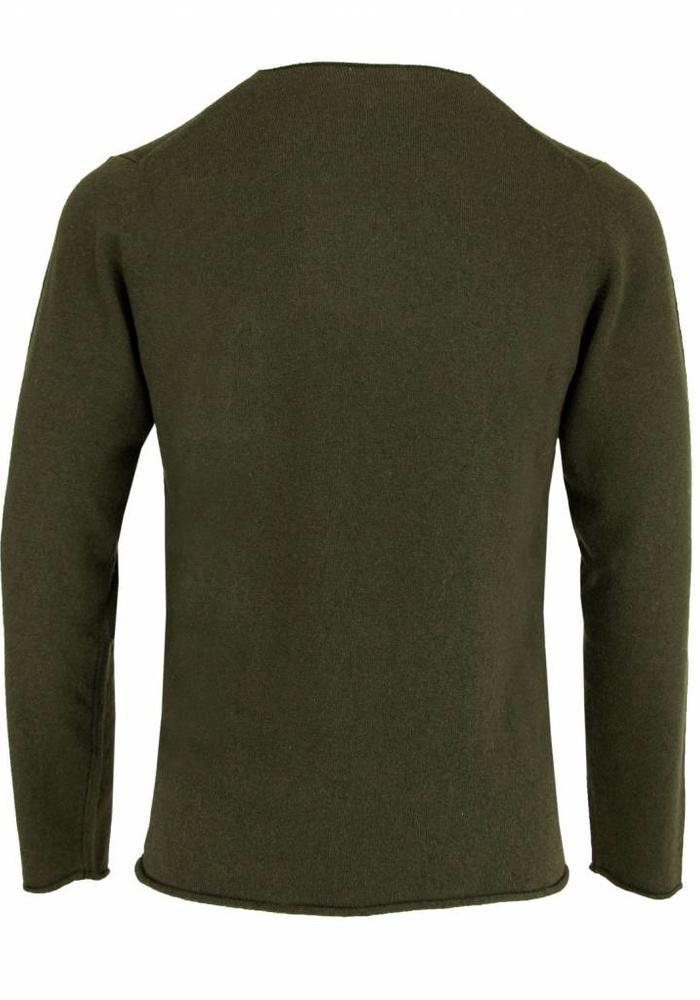 Wool & Co. Knitwear Trui WO 0045 Army Groen