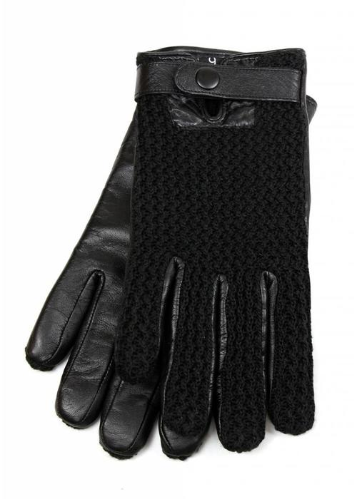 Mujjo Mujjo Touchscreen Gloves Leather Crochet Black