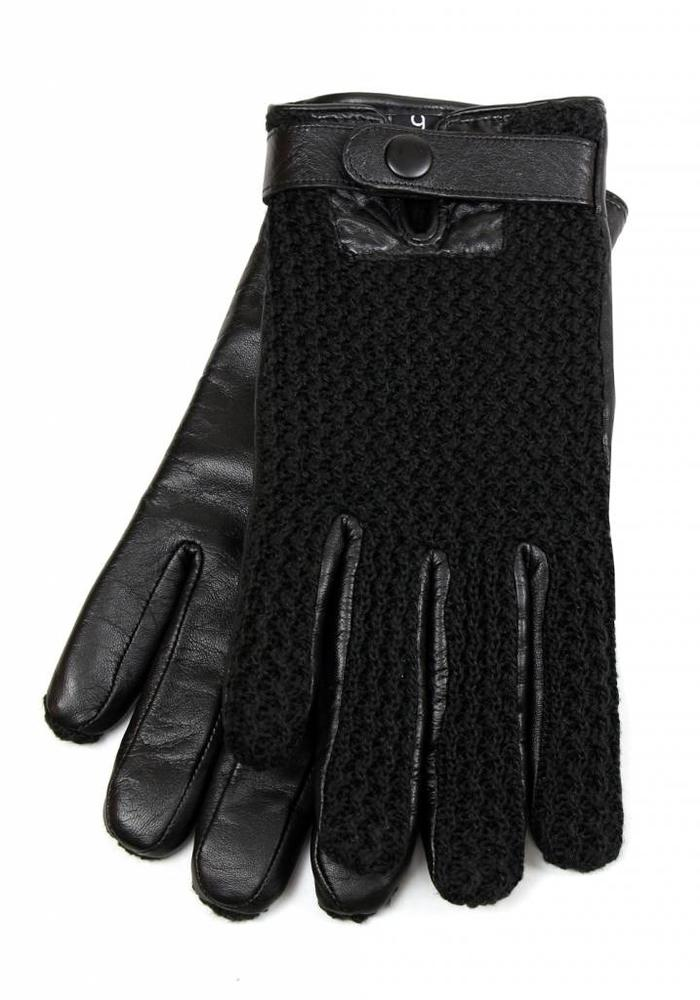 Mujjo Touchscreen Gloves Leather Crochet Black