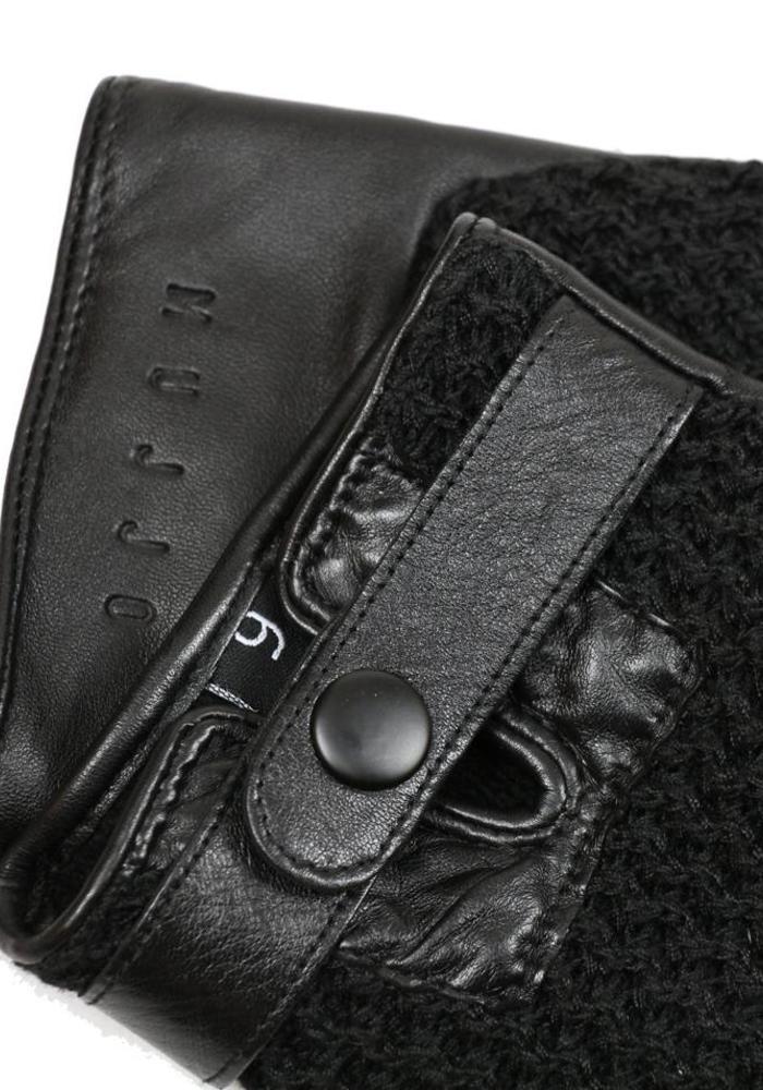 Mujjo Touchscreen Handschoenen Leer Crochet Zwart