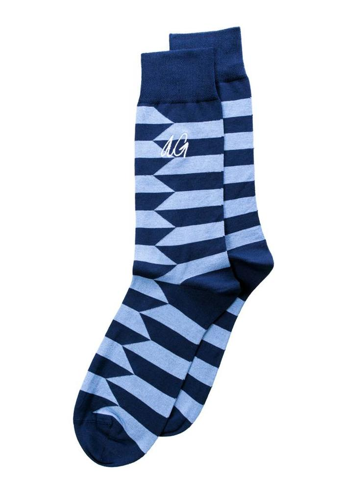 Alfredo Gonzales Socks Don Stripes Navy Blue