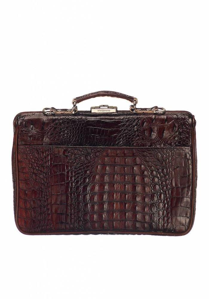 Mutsaers The Classic Leather Bag Brown Croco