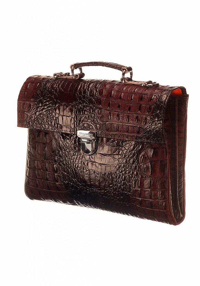 Mutsaers The Walker Leather Bag Croco Brown
