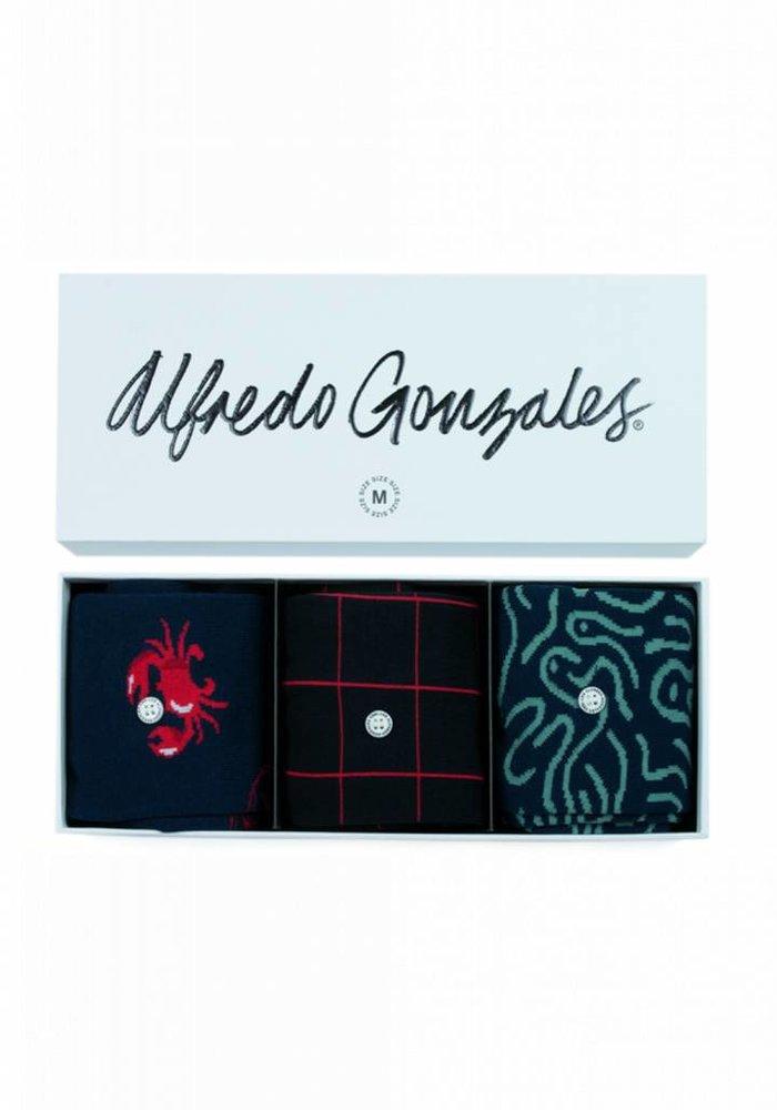 Alfredo Gonzales Socks Giftbox 3-Pack Sea