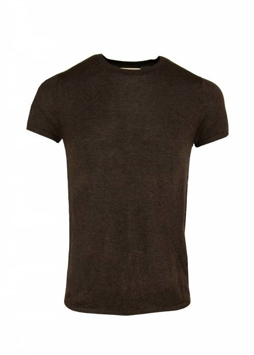 Bertoni Bertoni Tore Gebreid T-shirt Donkerbruin