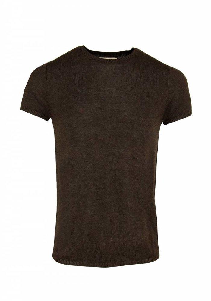 Bertoni Tore Gebreid T-shirt Donkerbruin