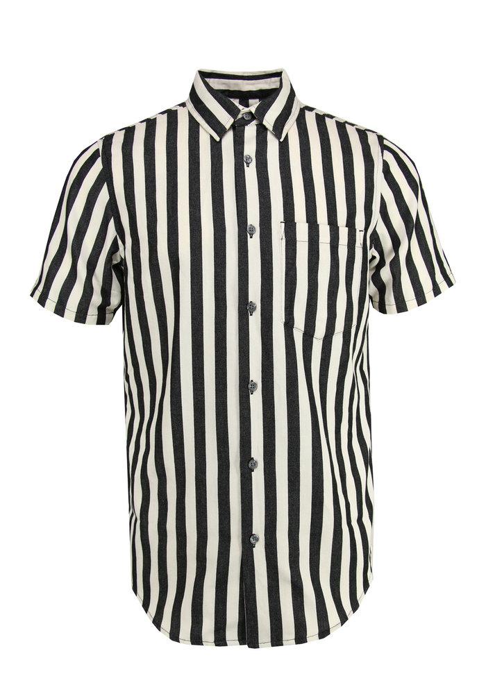 Neuw Work Stripe Shortsleeve Shirt Ecru / Black