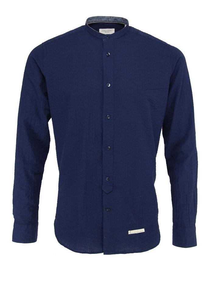 Tintoria Mattei Mao-Collar Shirt Crinkle Navy