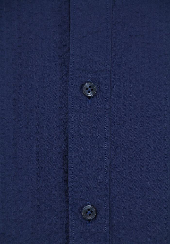 Tintoria Mattei Mao-Kraag Overhemd Crinkle Navy
