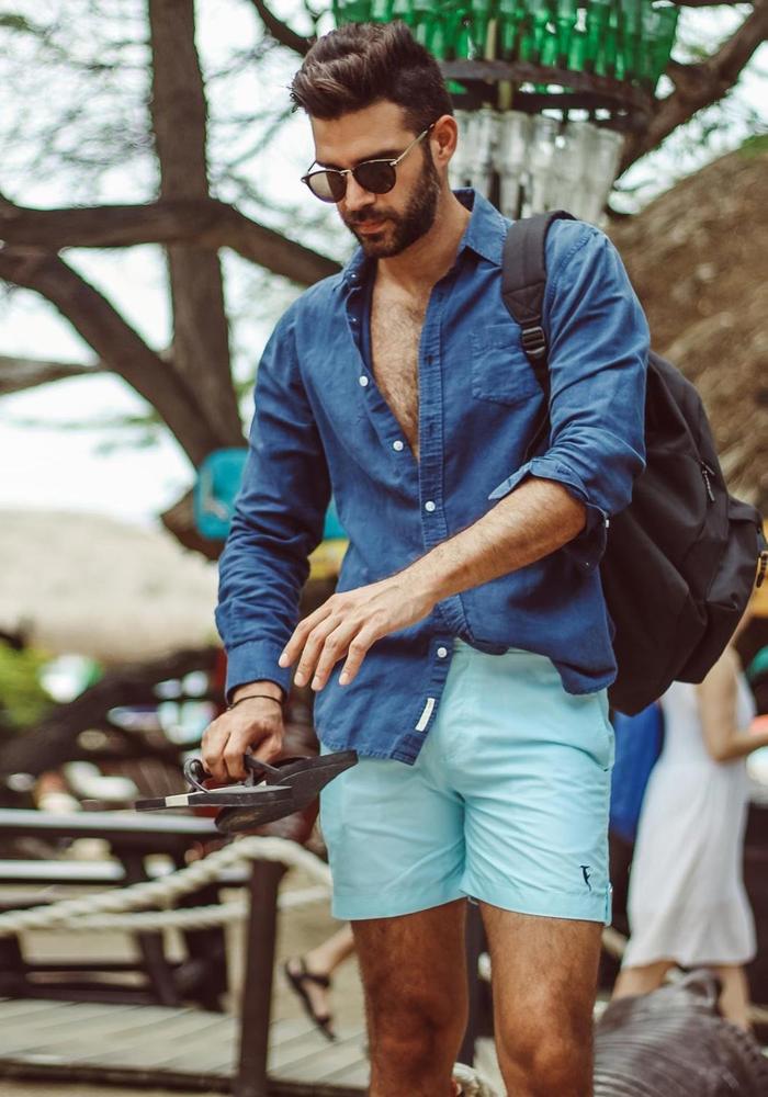 Sanwin Beachwear Zwembroek Tampa Stripes Light Blue