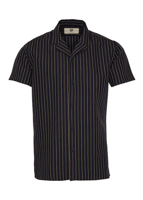 Bertoni Bertoni Shirt Sonny Navy Brown Stripes