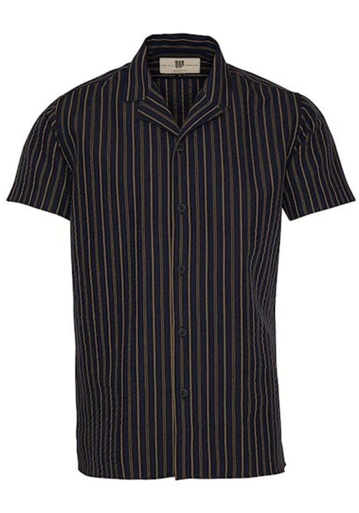 Bertoni Shirt Sonny Navy Brown Stripes